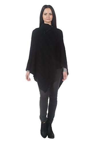 Women's Black Cable Knit High Cowl Neck Foldover Portrait Collar Sweater Poncho (Portrait Cardigan Collar)