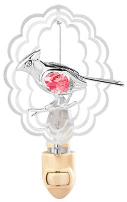 [Cardinal In Scalloped Oval Night Light..... With Red Swarovski Austrian Crystals] (Animals That Begin With S)