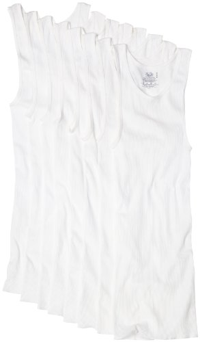 Fruit of the Loom Men's Super Value  Athletic Shirt,  White,  X-Large, White, X-Large(Pack of 8)