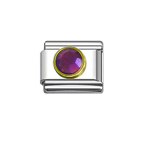 February Birthstone Italian Charm - Rhinestones Birthstone Italian Charm Bracelet 9mm Link Choose Your Birthstone From Menu