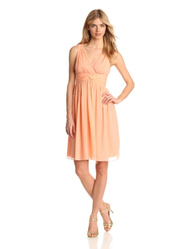 Donna Morgan Women's Jessie Short Chiffon Dress, Peach Fuzz, 18 (Donna Morgan Silk Chiffon)