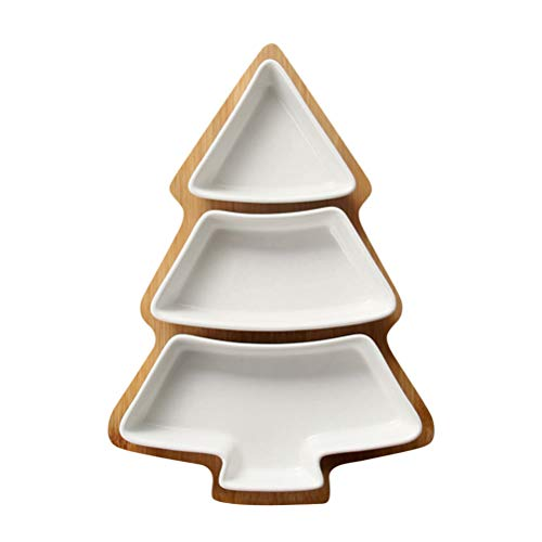 (BESTONZON Snack Serving Dish Tray Christmas Tree Shape Ceramic Fruit Candy Appetizer Serving Tray Food Server Display Plate (White) )