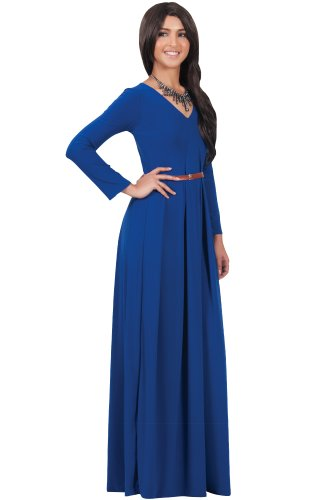 KOH KOH Womens Long Sleeve V-Neck Formal Fall Cocktail Evening Gown Maxi Dress