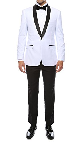 Ferrecci Men's Reno 2 Piece White/Black Slim Fit Shawl Lapel Tuxedo - 44S (White Blazer With Black Collar For Mens)