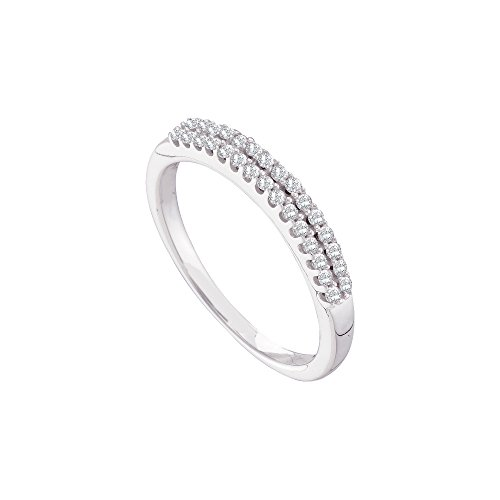 - 14k White Gold Womens Round Diamond 2-row Wedding Anniversary Bridal Band 1/5 Cttw