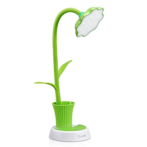 OCOOPA LED Desk Lamp, Kids Lamp with 12 LED Beads, Dimming Touch Control Light Flexible USB Rechargeable Reading light Eye-care Children Studying Lamp with Pencil Holder, 3W, Green