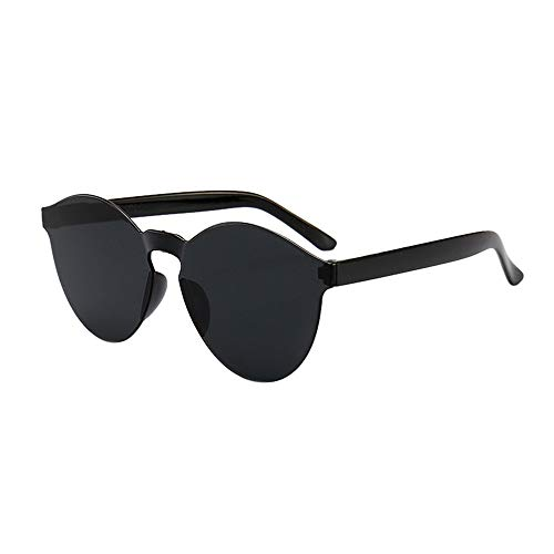 - JJLIKER Oversized One Piece Clear Lens Rimless Tinted Sunglasses for Women and Men Transparent Candy Color Colorful Black