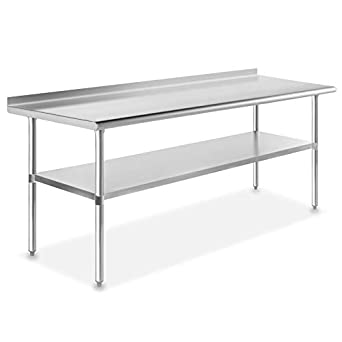 GRIDMANN NSF Stainless Steel Commercial Kitchen Prep & Work Table w/ Backsplash - 30 in. x 72 in.