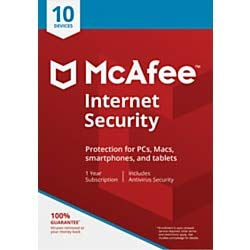 McAfee Internet Security, for 10 PC and Apple Mac Devices, eCode