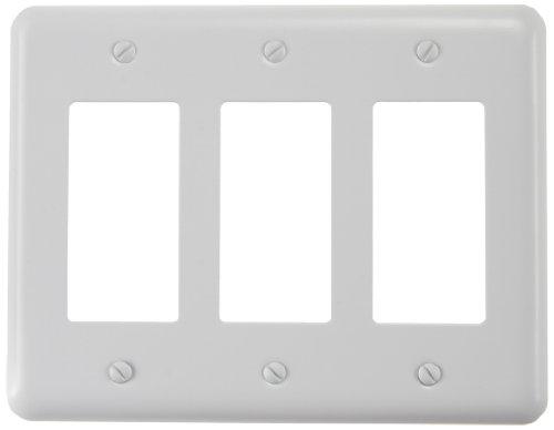 (Amerelle 935RRRW Decorative Steel Triple Rocker/GFCI Wallplate, White )