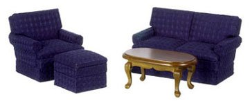 Dollhouse Miniature 4-Pc. Midnight Blue Living Room Set (Miniature Set Room Living)
