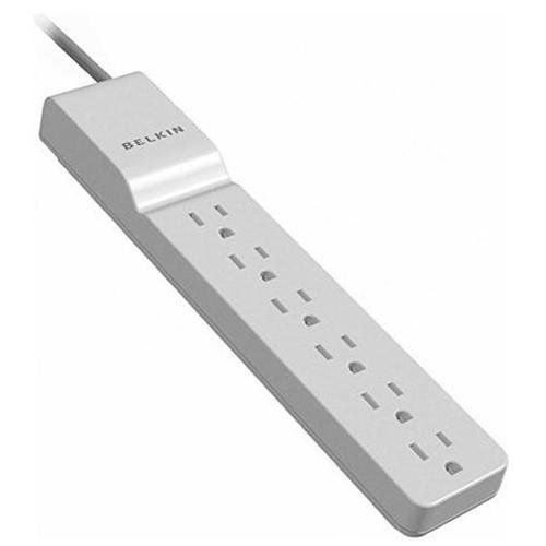 Belkin White Surge Protector - BELKIN WHITE SURGE PROTECTOR W/ 6 OUTLETS & EXTENSION CORD SLIM DESIGN 4FT/1.2M