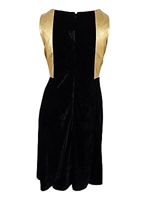 NY Collection Women's Metallic-Trim Velvet Fit & Flare Dress (3X, Dark Lustre)