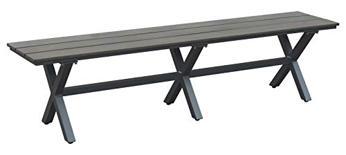 Zuo Modern Bodega Bench in Industrial Gray & Brown and Aluminum Frame