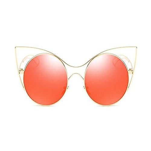 Súper Clásico UV Gafas gato Gafas Retro sol Rojo Dorado Xinvision Vintage Metal Moda ligero de Ojos Marco Protection Mujer de 65PZq