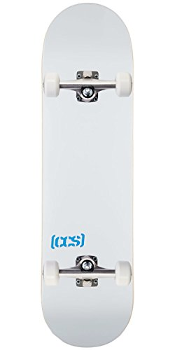Silver Tone Natural Wood - CCS Logo and Natural Wood Skateboard Completes - Fully Assembled (White, 8.25)