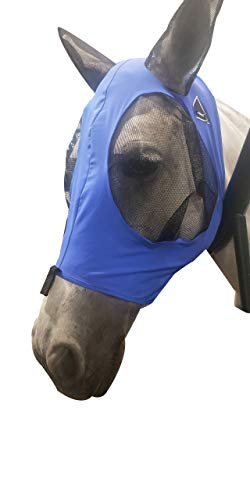 TGW RIDING Extra Comfort Lycra Grip Soft Mesh Horse Fly Mask with Ears (L, Dk Blue)