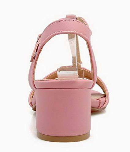 fibbia Pu Ca18lb06861 rosa Dress mezza Sandali con Donna tacchi Agoolar aOq14ww