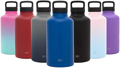 Simple Modern 64 oz Summit Water Bottle - Stainless Steel Half Gallon Flask +2 Lids - Wide Mouth Double Wall Vacuum Insulated Blue Leakproof -Twilight