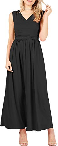 - Sleeveless Long V-Neck Elastic Waist Wrap Maxi Dresses for Women- Made in U.S.A (Size XXX-Large (US 16-18), Black)