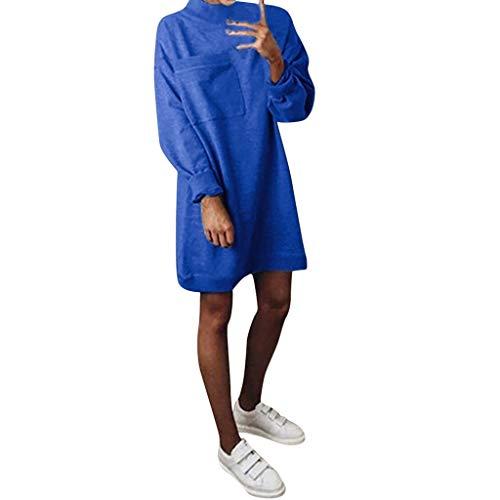 - Women Solid Color Pullove Slim Fit Big Pocket Long Sleeve Sweatshirt Dress