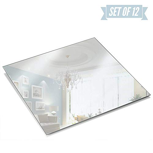 Light In The Dark 12 Inch Square Mirror Candle Plate 1.5 mm Thick with Round Edge Set of 12 (Square 12 Mirror)