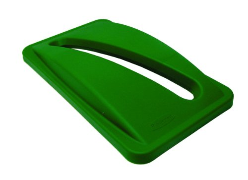 Rubbermaid Commercial FG270388GRN Slim Jim Rectangular Paper Recycling Container Top, Green (Recycling Jim Bins Slim)