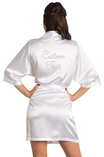 Zynotti Women's Personalized Clear Rhinestone Embelished Robe White Satin Robe 1X/2X 22-26