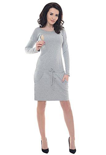 Purpless Maternity El Embarazo y de Enfermería Casual Vestido Con Los Bolsillos B6204 Light Gray Melange
