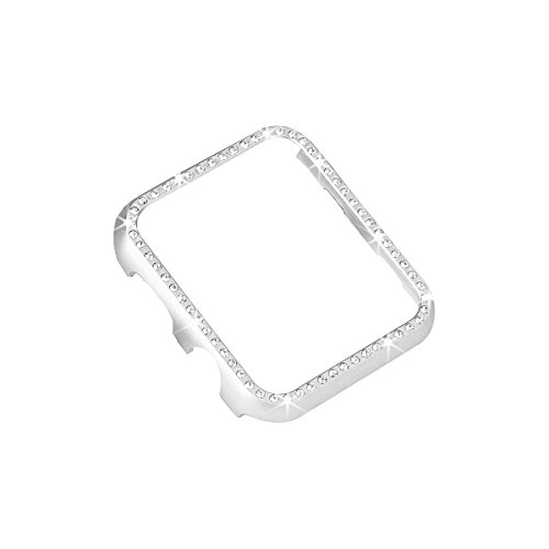Aluminum Metal Watch Case with Crystal Diamonds Plate Protective Cover Ultra Thin Bumper for Watch Series 1/2/3(Best 3D Bling Gift for Your iWatch) (Silver Bling, 42 mm)  -