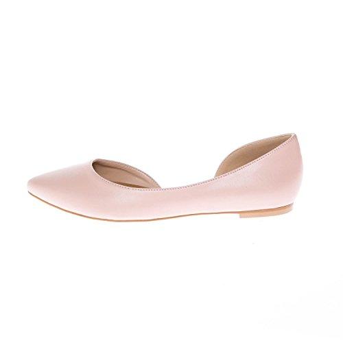 Pointed Flats On Slip KIKI CALICO Toe Comfort D'Orsay Half pu Blush Women's qUzfa0