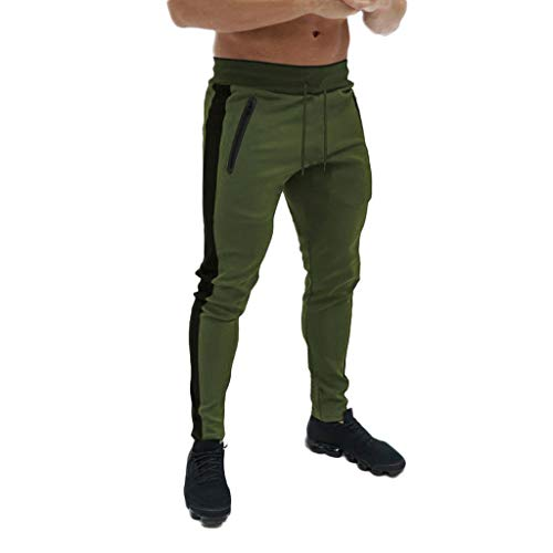 (Men's Gym Jogger Pants Slim Fit Workout Running Sweatpants with Zipper Pockets Drawstring Tapered Chino Trousers Green )