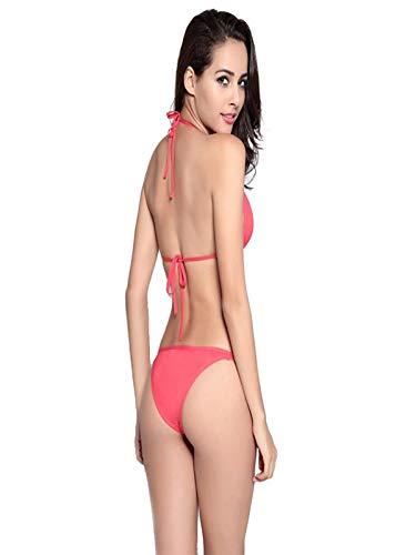 iLUGU Two Pieces Bikini for Women Triangle Tops Briefs Swimwear Swimsuit Beachwear Purple