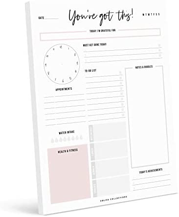 Bliss Collections Daily Planner with 50 Undated 8.5 x 11 Tear-Off Sheets - You've Got This Calendar, Organizer, Scheduler, Productivity Tracker for Organizing Goals, Tasks, Ideas, Notes, To Do Lists