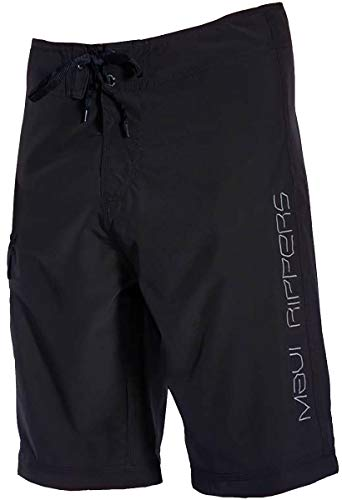 Maui Rippers Long Board Shorts 24 Inch Outseam, 4 Way Stretch (Black, - Inch 24 Shorts