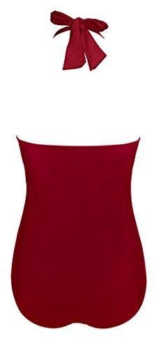 Aixy Mujer Vintage 50s Halter Cuello Pin Up Traje de Baño una Pieza Bañadores Vino rojo