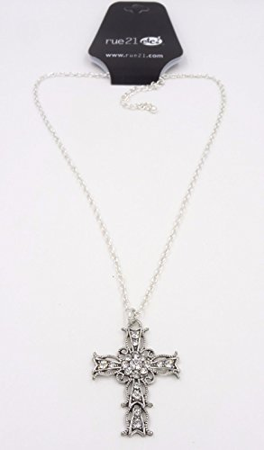 New 18  Beautiful Ornate Cross Necklace Loaded Clear Crystals By Rue21  N2177