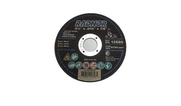 "Lot of 25 Radnor 4 1//2/"" X .045/"" X 7//8/"" A60T Aluminum Oxide Reinforced Type 1"