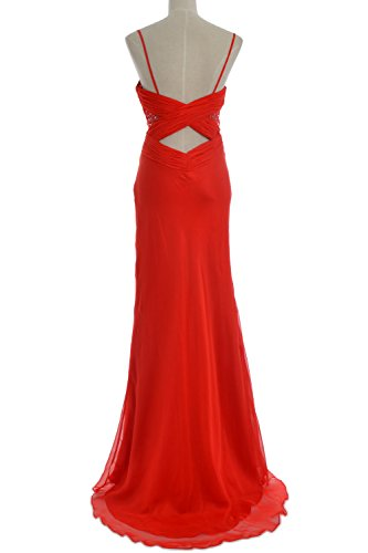 MACloth Women Mermaid Spaghetti Straps Chiffon Long Prom Dress Formal Party Gown Burgundy