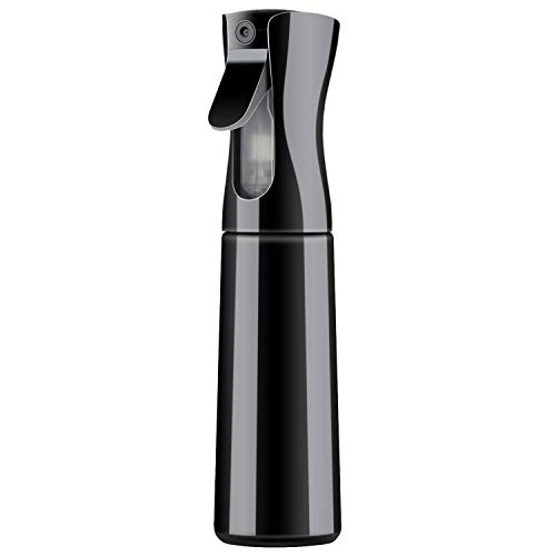 Spray Bottle for Hair, Segbeauty 10.1oz/300ml Continuous Spray Water Bottle Empty Stylist Sprayers with Ultra Fine Water Mist, Hairstyling Curler Keeper Mister-Black -