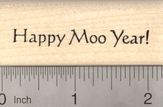 Happy Moo Year Rubber Stamp, Cow Saying