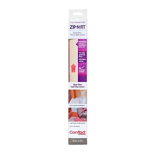 Con-Tact Brand Zip-N-Fit Solid Grip Non-Adhesive Non-Slip Perforated Shelf and Drawer Liner, No Scissors Needed, 18-Inches by 4-Feet, Almond