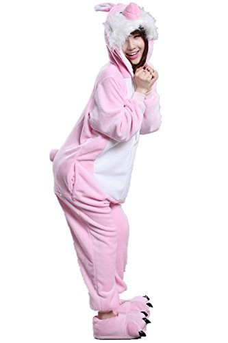 Japsom Pink Easter Bunny Rabbit One-Piece Kigurumi Pajamas Costume Cosplay L