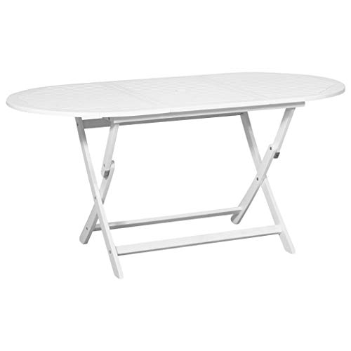 Tidyard Outdoor Patio Oval Dining Table Garden Furniture with an Umbrella Hole, Acacia Wood, White