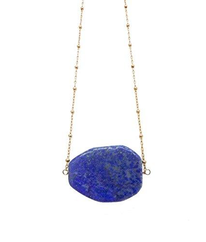 Blue Lapis Lazuli Slab Pendant Necklace 14K Gold Filled Satellite Chain