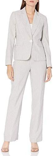 Le Suit Women's 1 Button Peak Lapel Pinstripe Seersucker Pant Suit