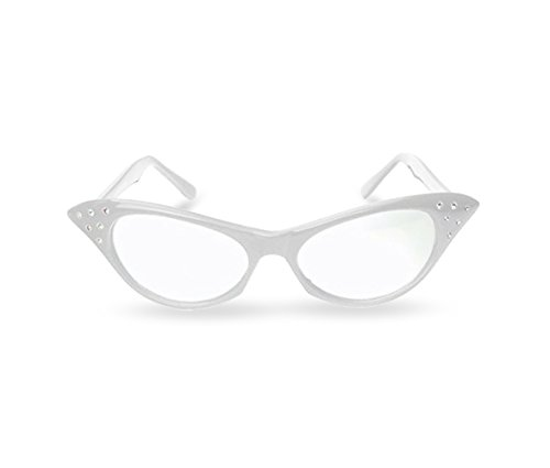 d95e980338a Pink   White Cat Eye Retro Costume Dress Up Hip Hop Rhinestone Glasses (2  Pack