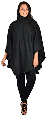 Dare2bStylish Women Poncho Style Fleece Cover Up with Muffler, Black, One Size (Fits M-5X)