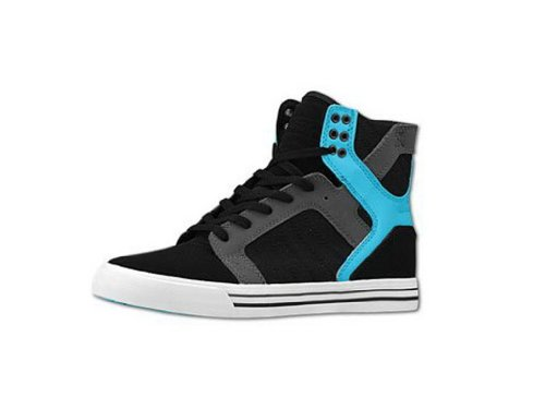 SUPRA Shoes SKYTOP-BLACK/GREY/TURQ-WHITE negro