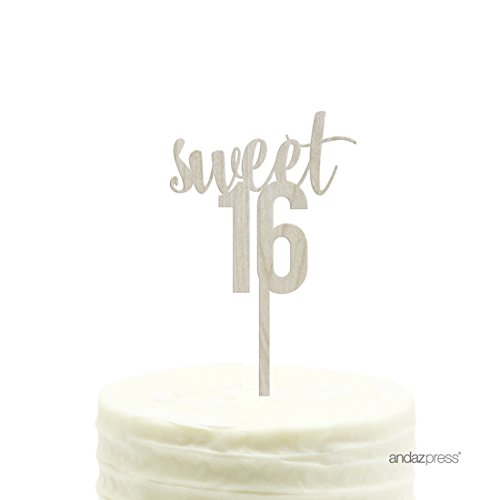 Andaz Press Birthday Wood Cake Toppers, Sweet 16, 1-Pack, Decor Decorations Sweet Toppings